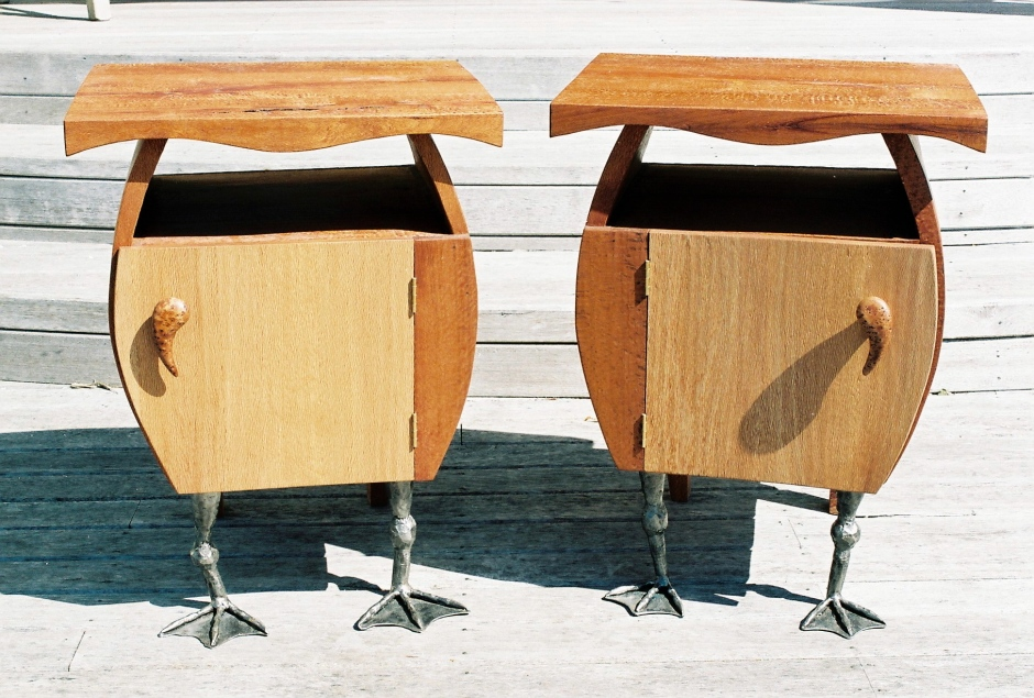Duck Cabinets These bedside cabinets were designed for friends who live lake side. The timber is Rewarewa or Honeysuckle with forged steel ducks feet. I wanted to celebrate the comic nature of ducks feet in contrast with the elegant curves of the ducks body.